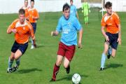 MAJOR TOM: Dringhouses' striker Tom Hawksby, centre, who was on target in the 8-3 romp