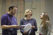 Cast members in rehearsal for plays drawn from adult theatre workshops.  Picture: James Drury