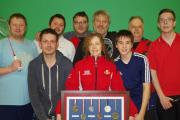 INSPIRATION: Andrea Hardwick shows off her medal collection to members of York's new Deaf Badminton Club