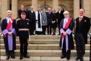 The swearing in of the new High Sheriff of North Yorkshire, Charlie Forbes Adam, right, outside York Crown Court