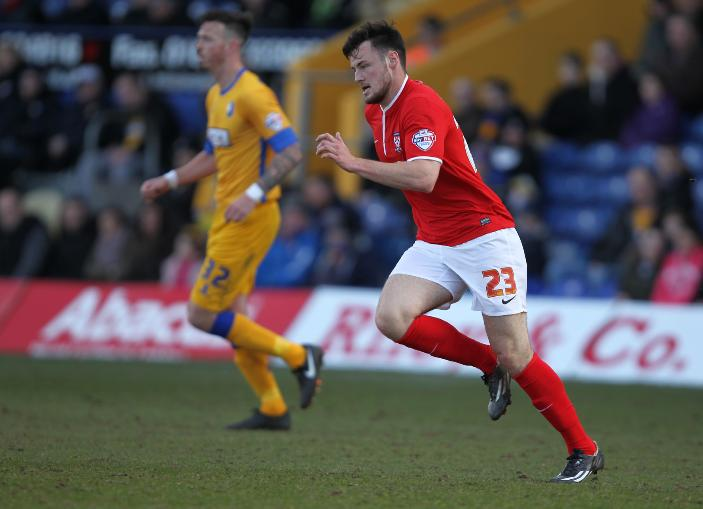ON THE FRONT FOOT: York City's Josh O'Hanlon in action during his debut at Mansfield