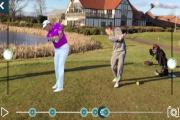PLAYING WITH THE PROS: A golfer compares swings with Lee Westwood in front of the Sandburn Hall clubhouse using the iPhone app