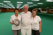 From far left, York Indoor Bowls Club Ladies Over-55s singles winner Pam Richardson,  marker Allan May and runner-up Pauline Cooper