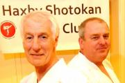 Haxby Shotokan Karate Club's chief instructor Mike Gude, near right, with club founder Ian Shaw