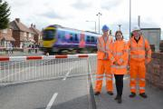 Vicky Beadle, community safety manager for Network Rail, with Stephen Smith and Darren Lord, level crossing manager, at the Haxby Road crossing. Pictures: Anna Gowthorpe