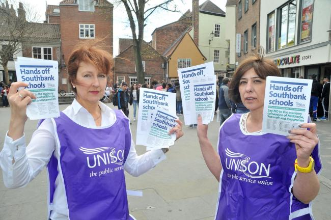 Unison branch secretary Heather McKenzie, left, and School's Convenor Julie Toyne who were handing out leaflets, in King's Square, opposed to the academy conversion of Millthorpe, Scarcroft and Knavesmire schools