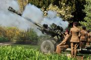Gunners from the (Corunna) Battery Royal Artillery fire a 21-gun salute to celebrate the Queens Birthday in Museum Gardens