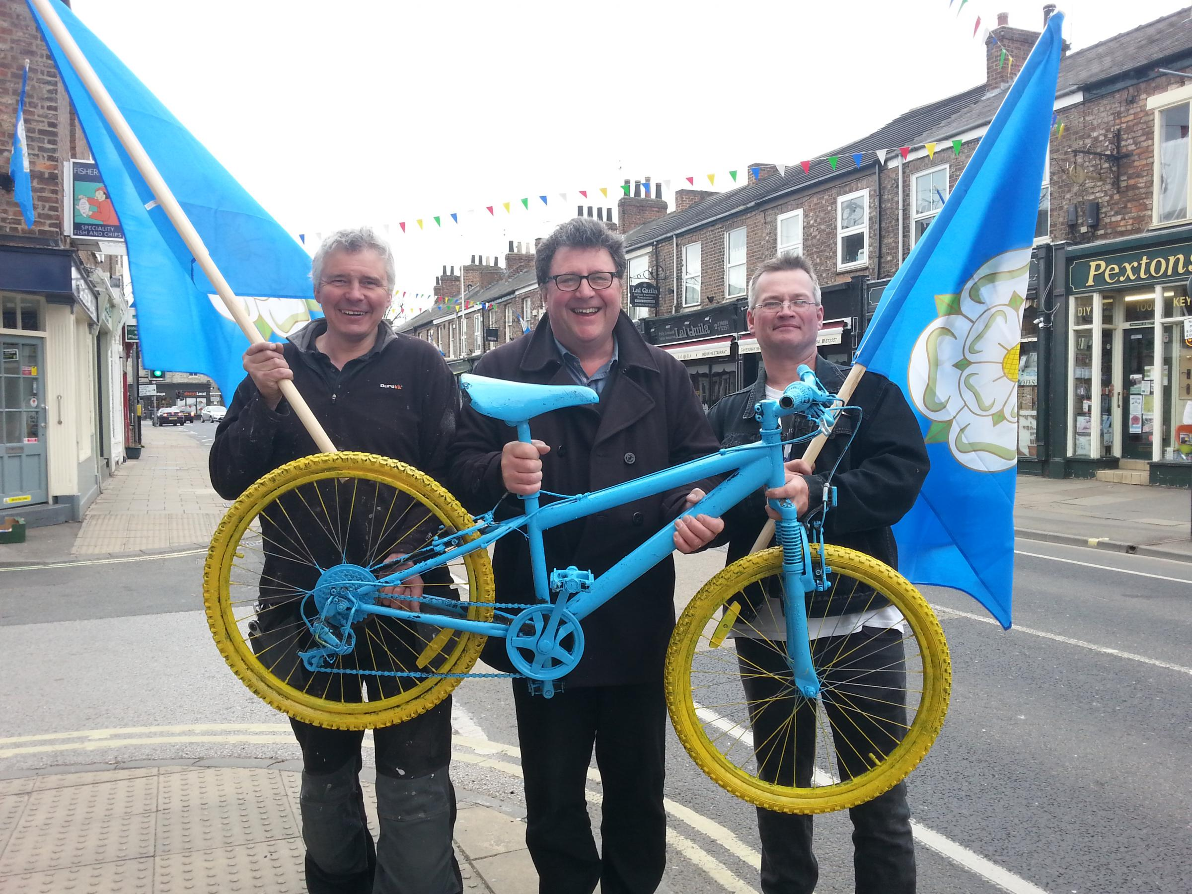 READY TO PARTY: Dave Wilson, Johnny Hayes and Chris Reed helped decorate Bishopthorpe Road