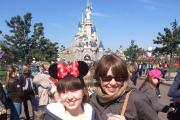 : Maxine and her daughter Eva, aged 12, in front of the Sleeping Beauty Castle, Disneyland, Paris