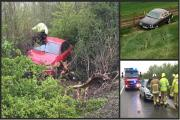 LUCKY ESCAPES: BMW and Jaguar drivers avoid injury after careering off road - And fence saves woman, 24, from 20ft drop24, from