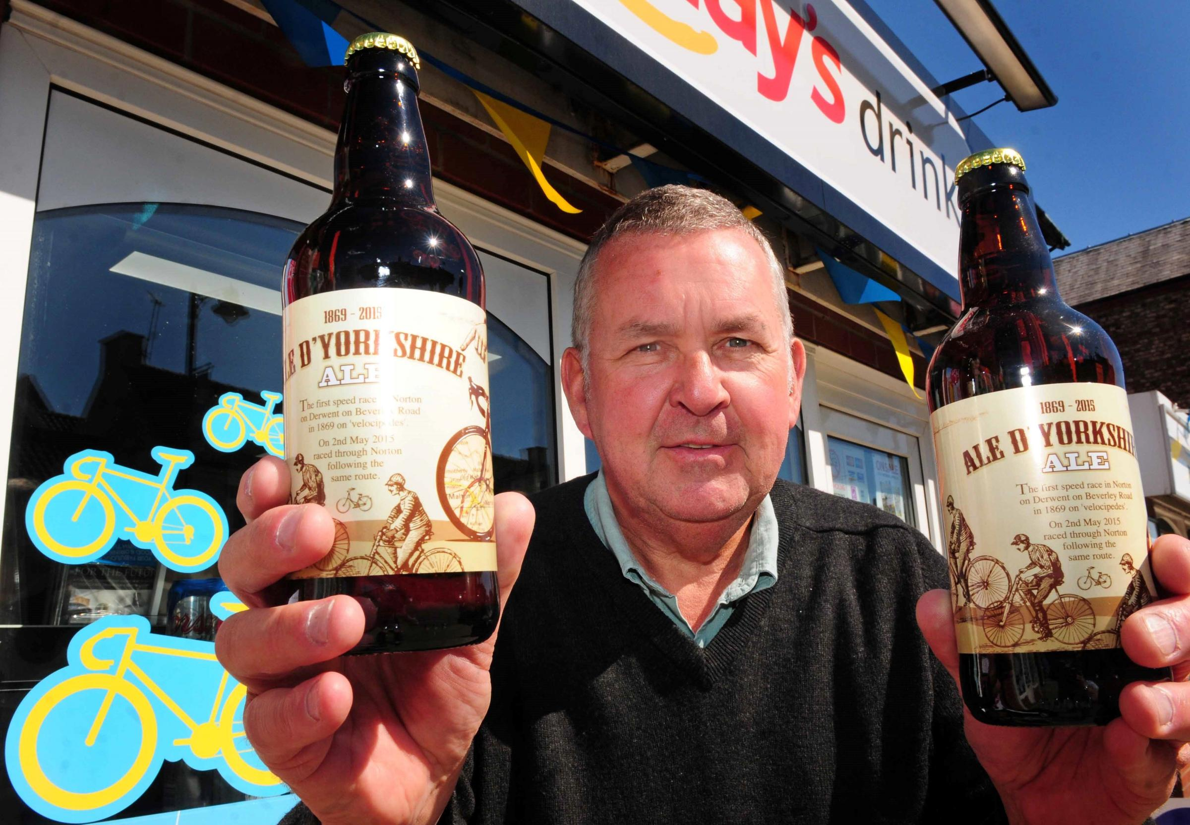 Norton mayor Ray King with a Tour de Yorkshire-inspired ale