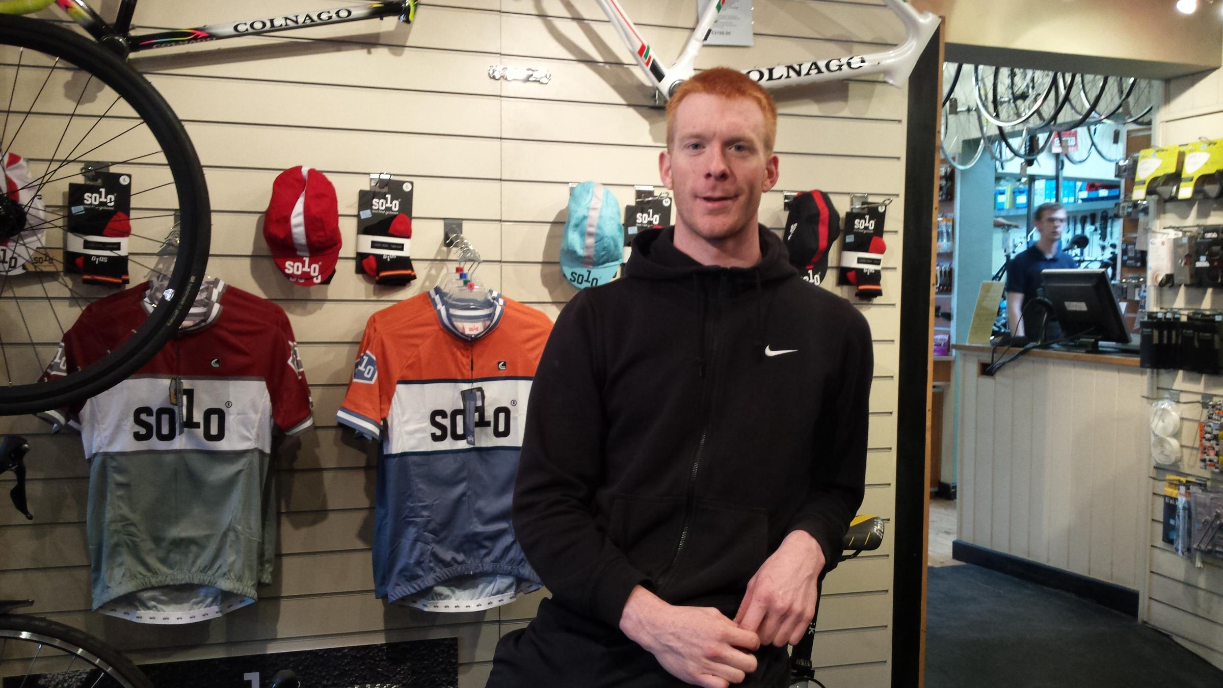 Olympic medallist Ed Clancy at Cycle Heaven on Bishopthorpe Road. Picture: Chloe Farand