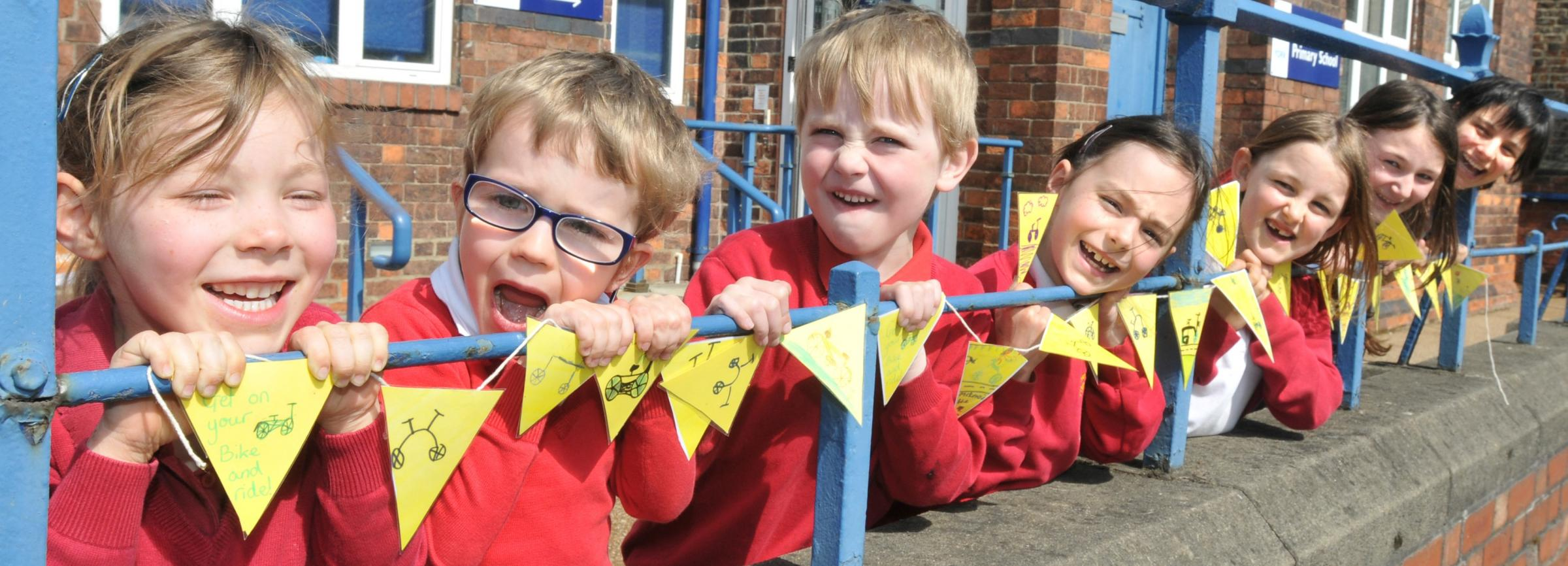 Some of the pupils from Heworth Primary School with teacher Molly Newton and their bunting
