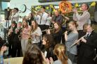 The New York Brass Band played a lunchtime gig at Joseph Rowntree School