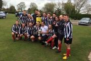 Dunnington celebrate their York FA Saturday Senior Cup victory