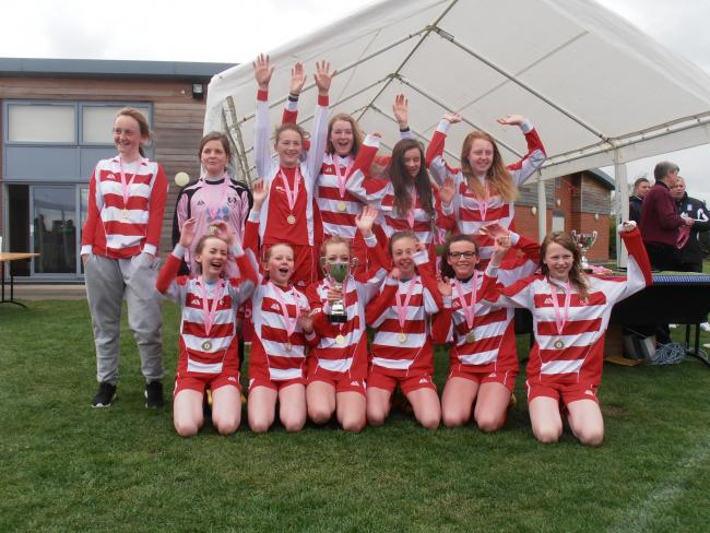 Copmanthorpe celebrate winning the City of York Girls' League Under-14s Cup