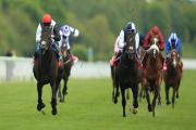 FLYING HOME: Golden Horn, left, win the Betfred Dante Stakes