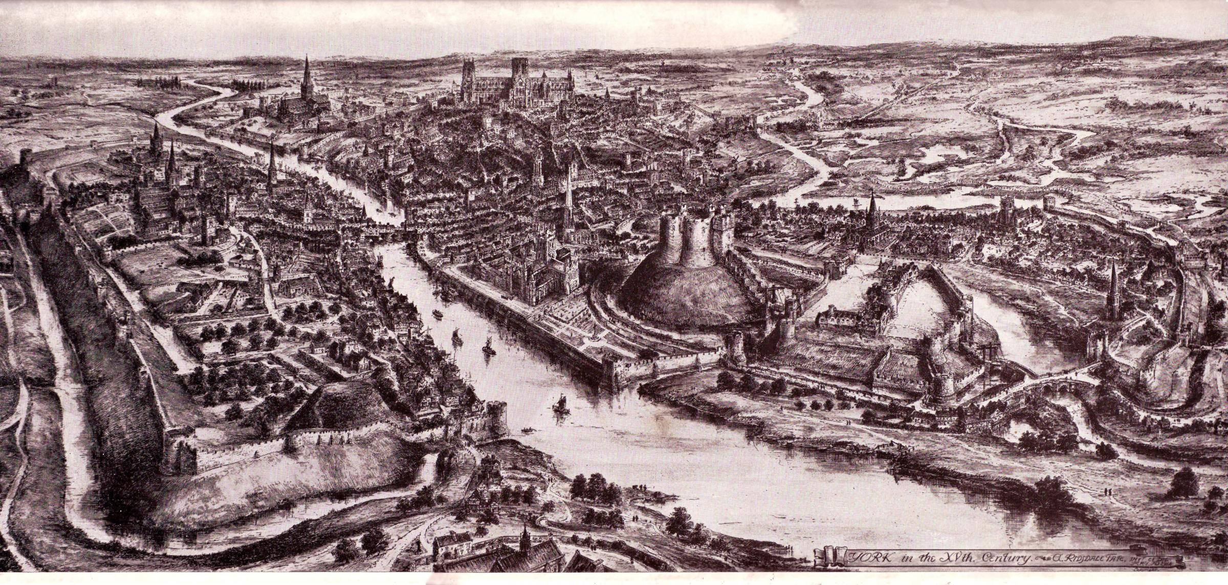 The panorama of York which was commissioned of York artist Edwin Ridsdale Tate by the editor of the Yorkshire Gazette for publication in their 20,000th celebratory edition on 18th May 1915. Reproduced courtesy of the Mansion House, York