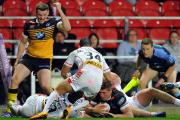 CLOSE CALL: York City Knights' Greg Minikin goes close to scoring in Friday's 46-6 Ladbrokes Challenge Cup defeat against St Helens at Langtree Park. Picture: John Rushworth