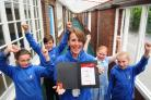 Tang Hall Primary School teacher Fiona McCallion celebrates her 50th birthday by d