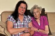 Shirley Barker with her 89-year-old mum, Patty Longfield, who was left outside by nursing home staff