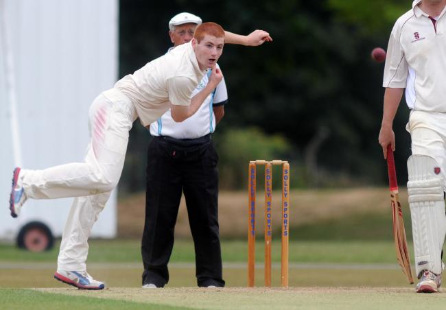 ALL-ROUNDER: Ryan McKendry, pictured bowling, took three wickets and then starred with the bat as Thirsk beat Sessay