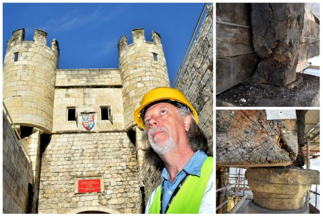 John Oxley at Walmgate Bar, and some of the vulnerable sections. Pictures: David Harrison