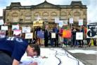 Protests outside York Art Gallery against admission charges