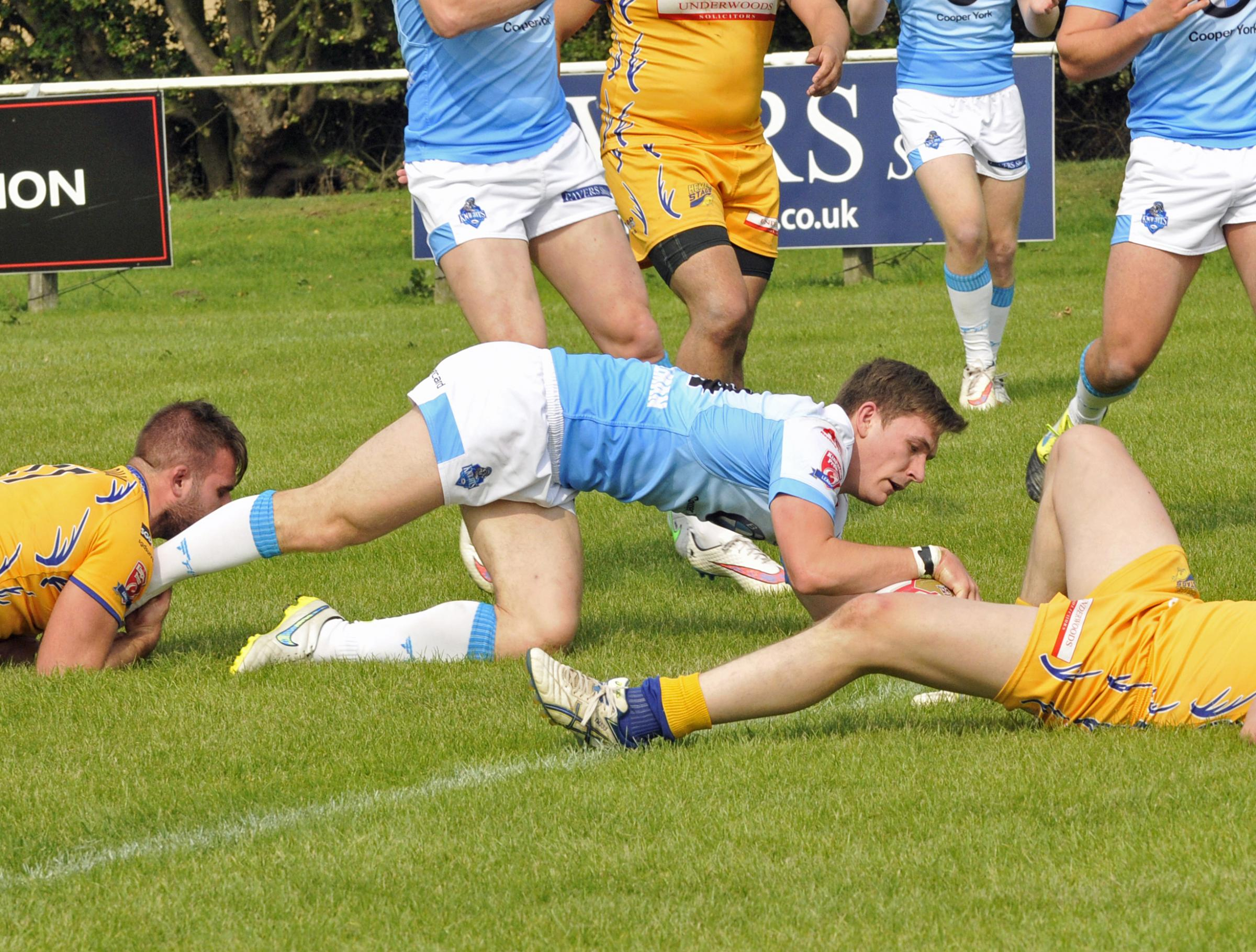 Kriss Brining scores a try against Hemel Stags in the win that all but secured the Knights a place in the League One play-offsPicture: Charles Peart