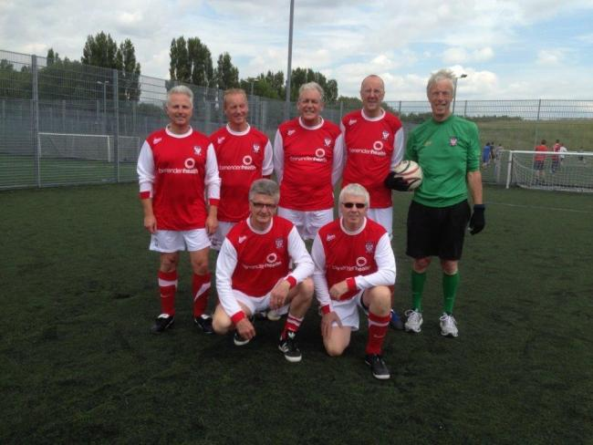 NATIONAL POWER: The York City walking football team that reached the English finals at St George's Park. Pictured (left-to-right, back row) are Jeremy Reed, Richard Murray, Terry Norland, Martin Woof, Mike Kelley; (front row) Neil England, Thomas Gillon.