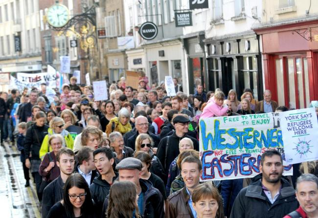 Crowds at the recent #refugeeswelcome rally in York