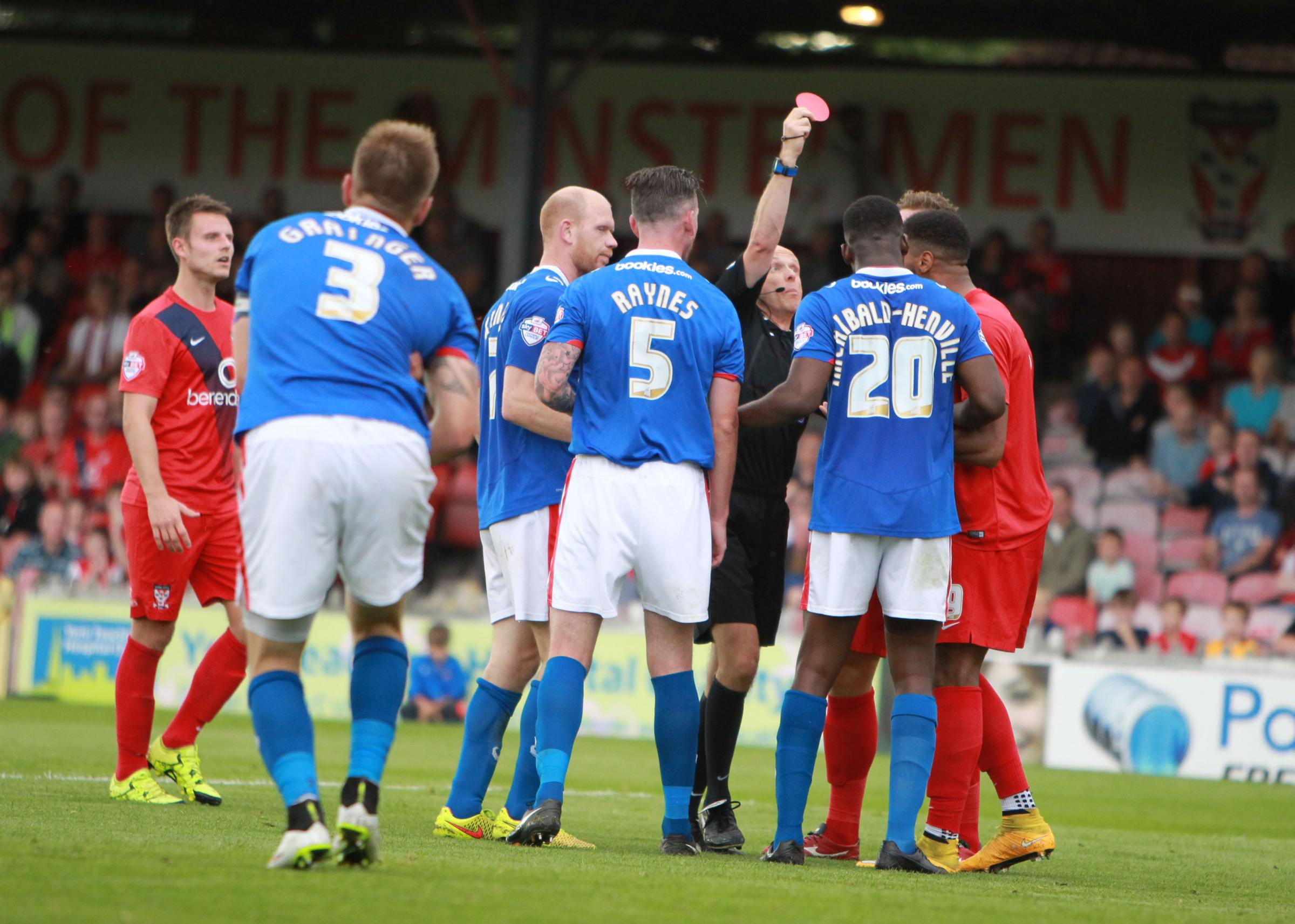 SEEING RED: York City have been left angry by another failed attempt to get a red card overturned following Vadaine Oliver's dismissal against Carlisle