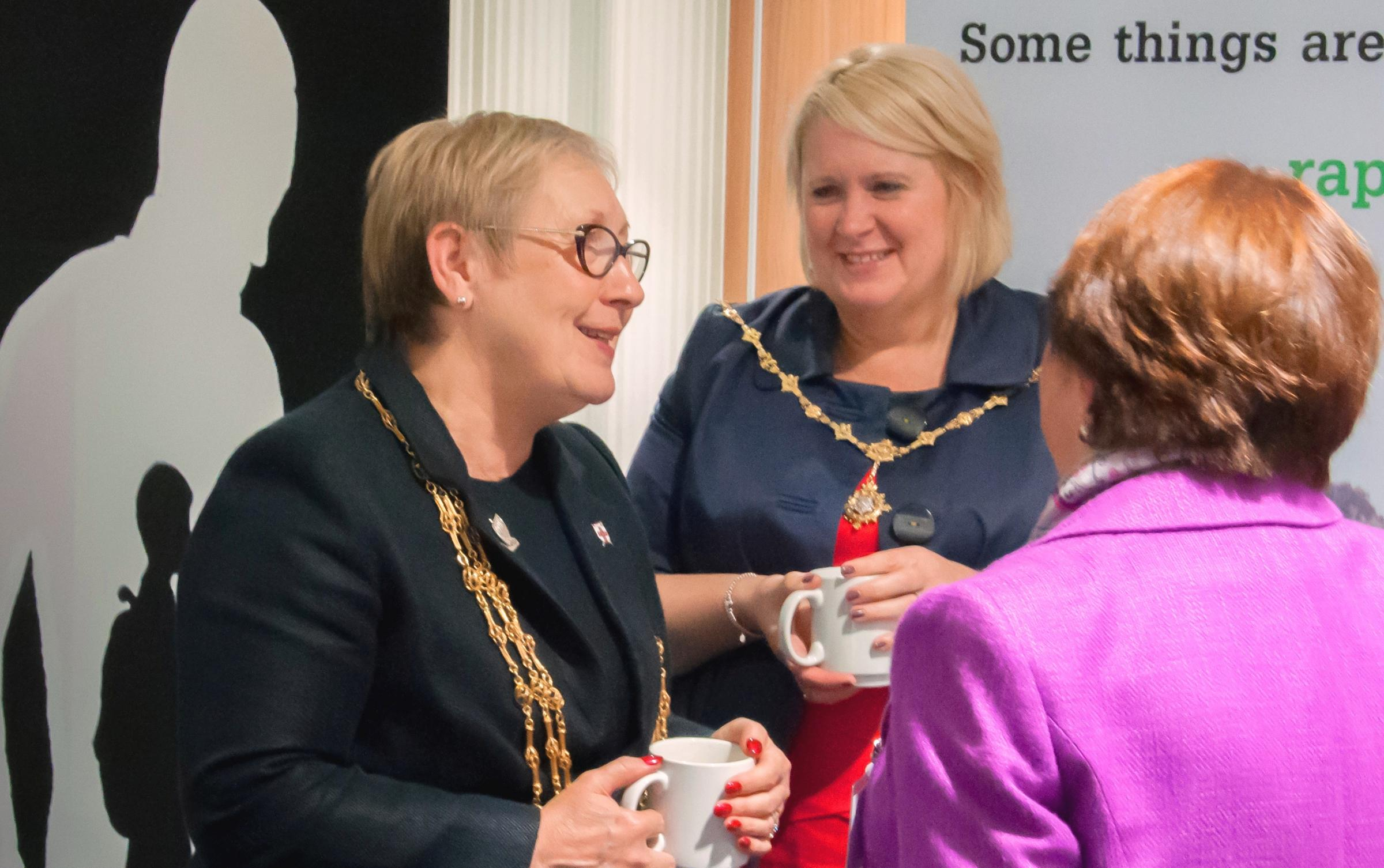 The Lord Mayor of York, Cllr Sonja Crisp, left, talks with Survive supporters