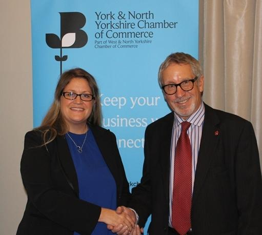 York business boss welcomes ambitions behind economic blueprint to ed everard president of york north yorkshire chamber with vice president bridget malvernweather Images