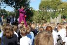 The Archbishop of York, Dr John Sentamu, blesses the garden at St Barnabas CE Primary School