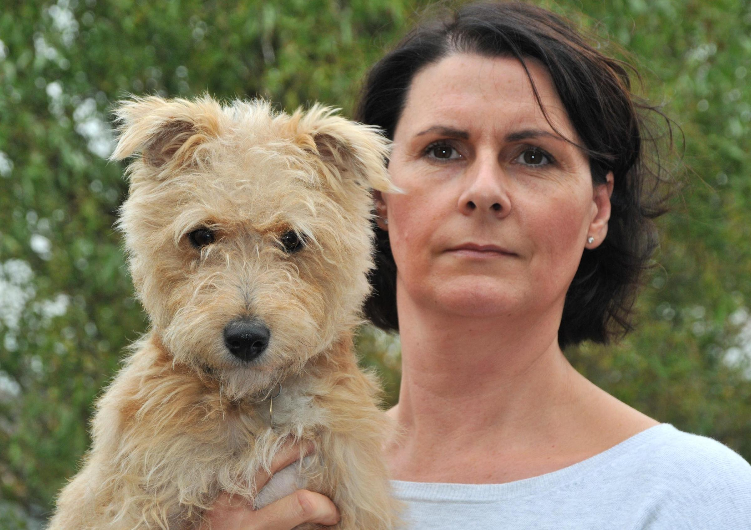 Pictured is Carolyn Rennie with her dog Jess which was savaged by a dog matching the description of one involved in a previous attack on another dog. - 4408181