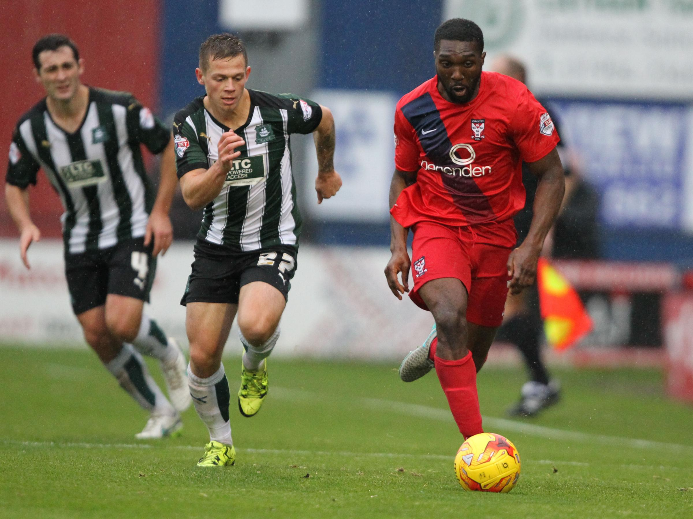 WING AND A PRAYER: Femi Ilesanmi embarks on a left-wing raid for York City during a difficult first half against Plymouth