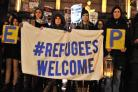 Campaigners attend a vigil in Exhibition Square in support of welcoming refugees. Pic: Nigel Holland