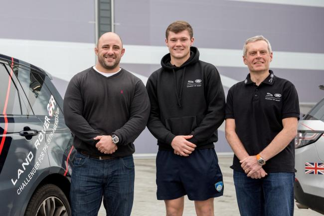 MENTORING: Lewis Wilson, centre, received wise words on his way to stardom from former England rugby union player David Flatman, left, and ex-Olympic cyclist Bryan Steel, right