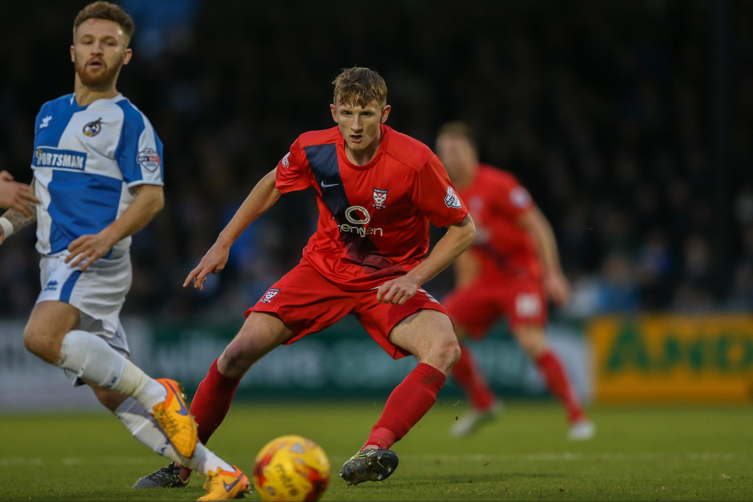 WILL POWER: York City boss Jackie McNamara is doing all he can to bring Will Boyle (pictured above) back to Bootham Crescent