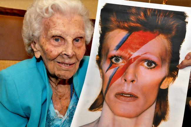 FLASHBACK: Roma Teal celebrates her 104th birthday at Connaught Court, Fulford with a picture of her nephew David Bowie in his Ziggy Stardust days
