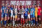 York City Knights' Austin Buchanan, fourth left, lines up with rivals from other League One at the launch of the 2016 season (54616412)