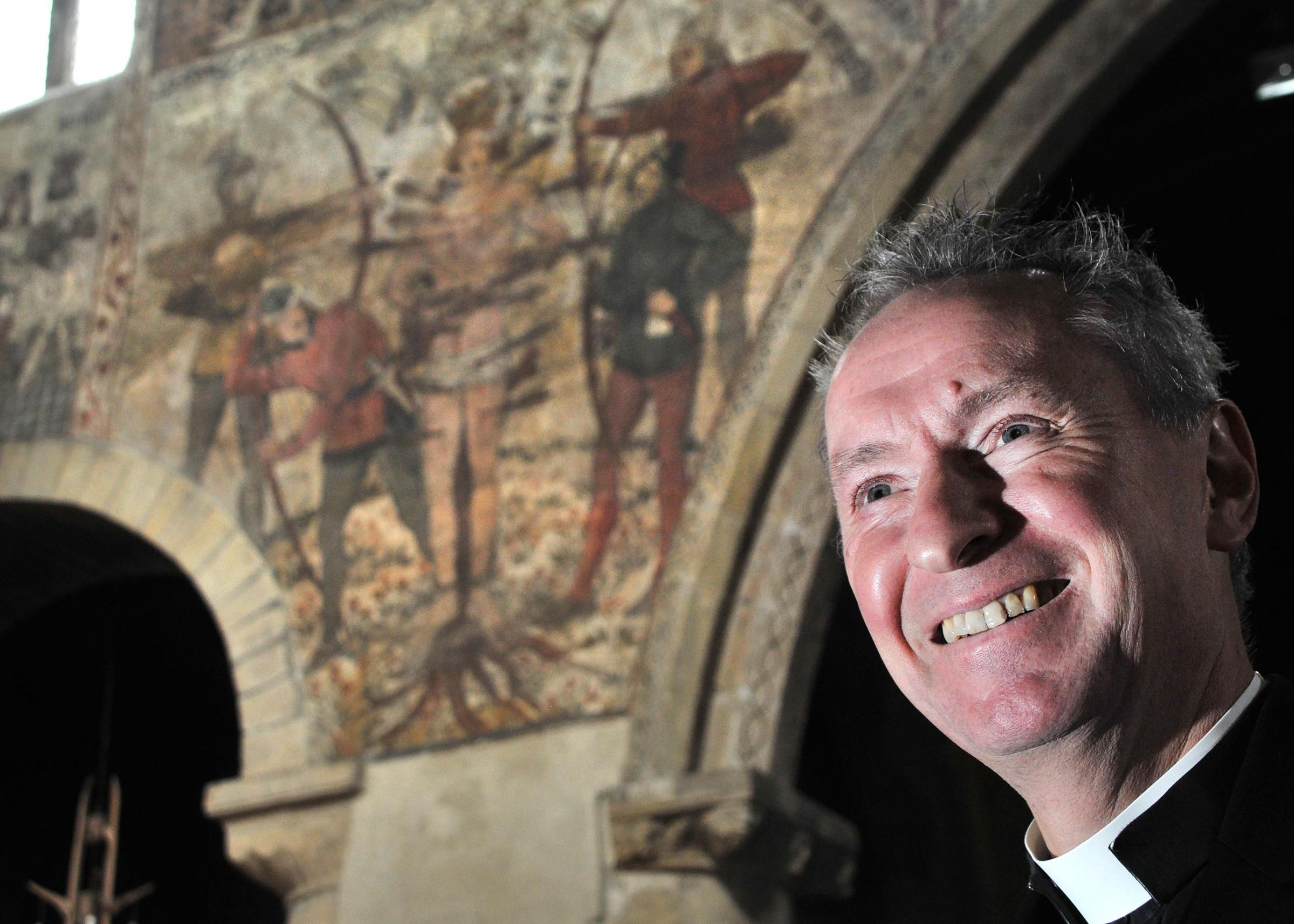 Pickering Parish Church is launching a project to preserve and promote its medieval wall paintings. Pictured is Father Antony Pritchett. Picture: David Harrison