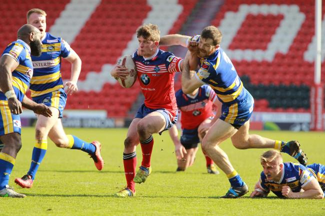 York City Knights hooker Harry Carter takes on the Doncaster defence out of dummy-half. Picture: Gordon Clayton