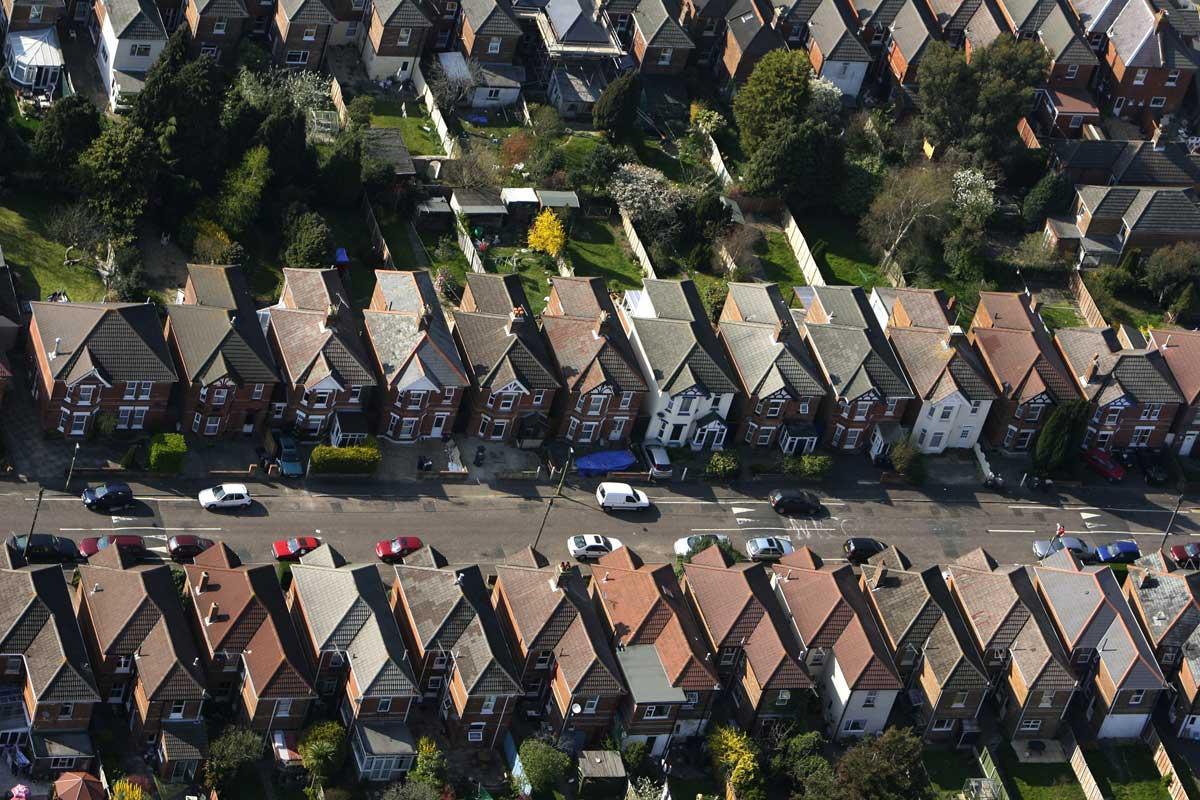 Luftaufnahme von Reihenhäusern in York