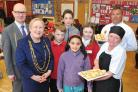 The Lord Mayor, Cllr Sonja Crisp and Ian Crisp, with, from left, Dominic Garnett from Headlands, Bruno De Miguel and Patricia De La Cal from Madrid, Olivia Taylor-Swift from Robert Wilkinson and Headlands catering manager Jane Irwin and Adrian Ritson from