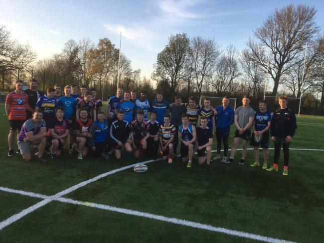 York City Knights' first-teamers and lads from New Earswick All Blacks Under-15s after their training session together
