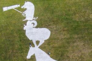 The North York Moors National Park Authority's giant land art to mark Stage Three of this year's Tour de Yorkshire cycle race has been unveiled on the top of Sutton Bank
