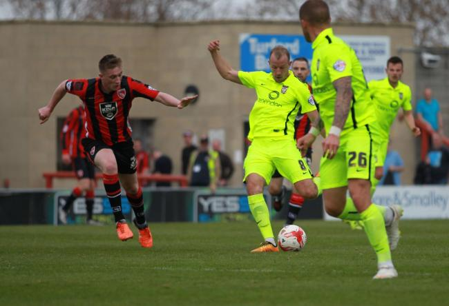 ON TARGET: Luke Summerfield opens the scoring for York City at Morecambe. Picture: Gordon Clayton