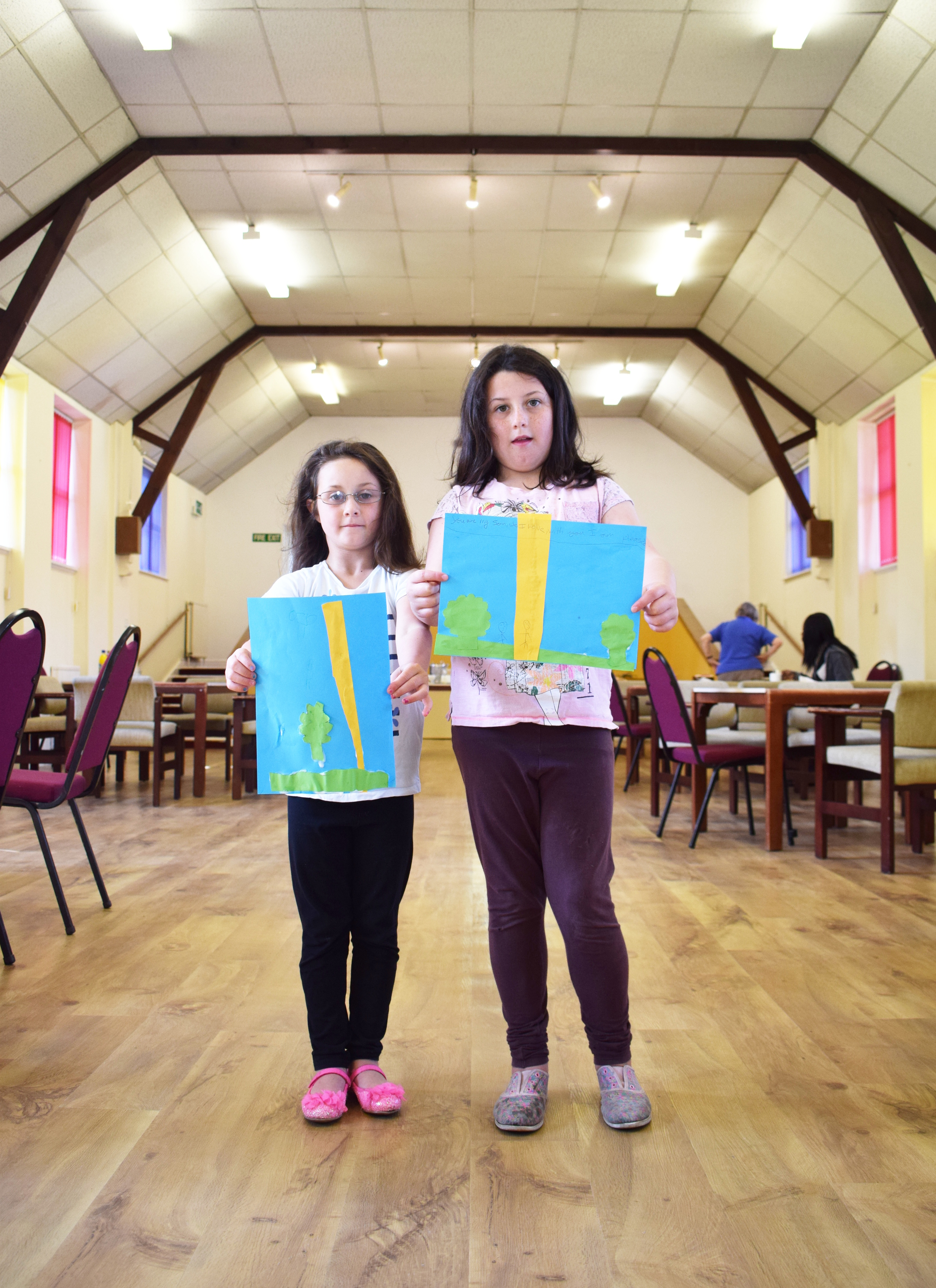 Tasha and Destiny from St Lawrence Sunday School in the refurbished St Lawrence Parish Church Hall.